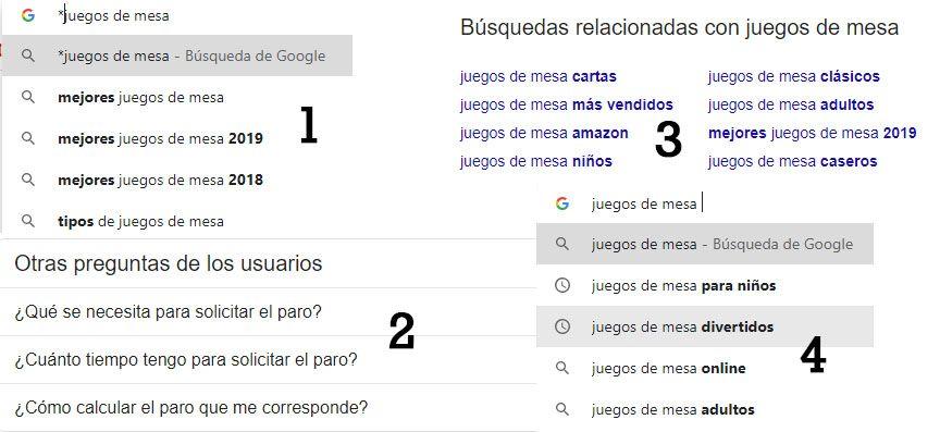 Google para estudio de palabras clave
