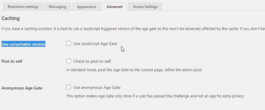 age gate configuración