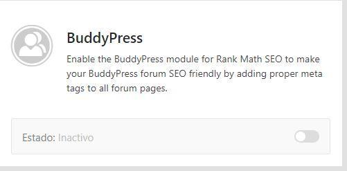 Modulo rank math buddyPress