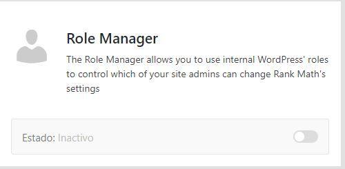 Módulo role manager rank Math