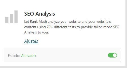 Módulo seo análisis rank math