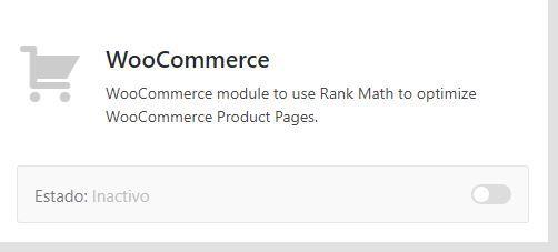 Módulo woocommerce de Rank math
