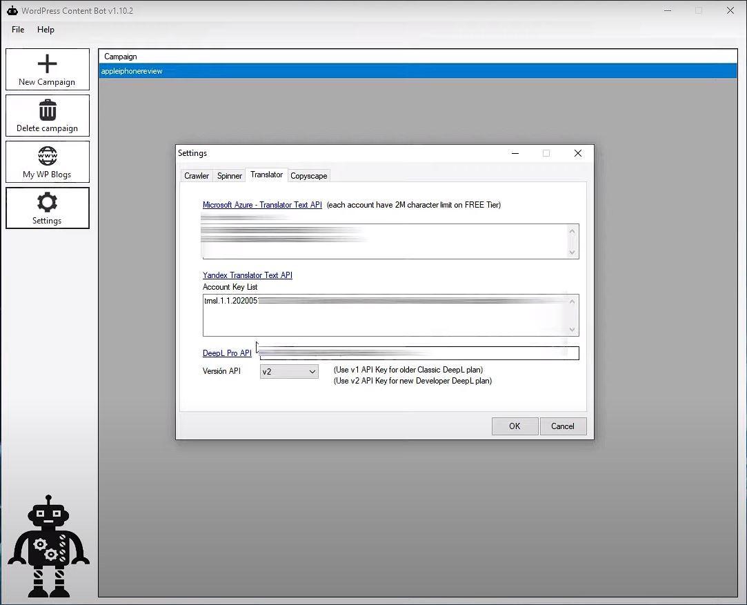 Wp Content bot configuración